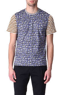 MARNI Mixed stripe and floral print t-shirt