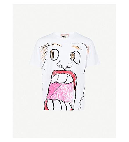 MARNI Sketch face-print cotton-jersey T-shirt (White