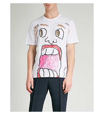 MARNI Sketch face-print cotton-jersey T-shirt (White