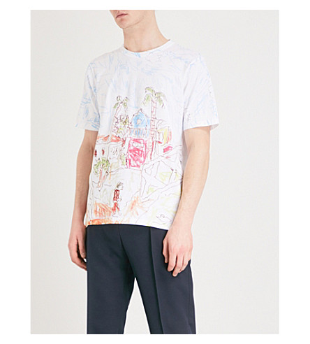 MARNI Printed cotton-jersey T-shirt (White