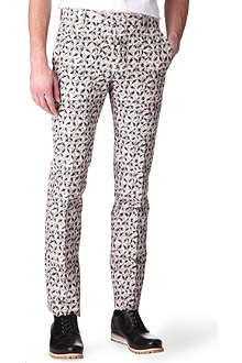 MARNI Floral-sketch printed slim-fit trousers
