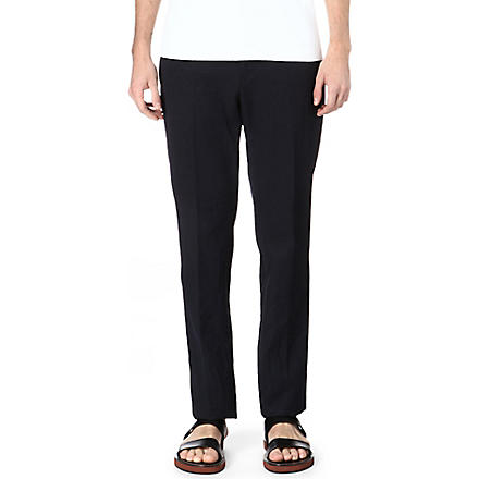 MARNI Pleated slim-fit trousers (Navy
