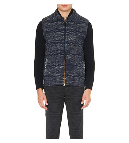 MISSONI Zig-zag knitted gilet (Blue