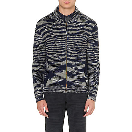 MISSONI Abstract-knit cashmere-wool cardigan (Blue/white