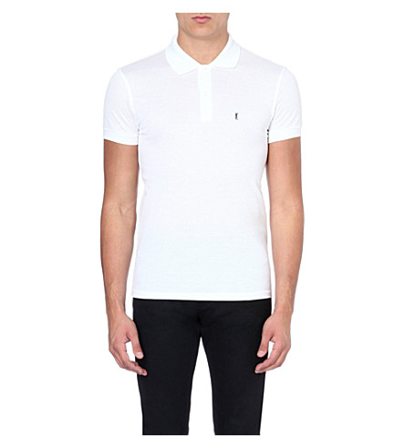 SAINT LAURENT Cotton-pique polo shirt (White