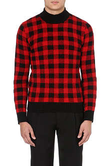 SAINT LAURENT Checked wool-blend jumper