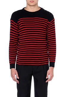 SAINT LAURENT Striped wool-blend jumper