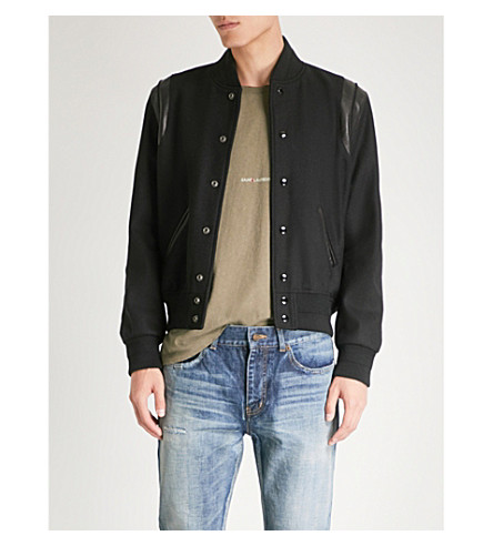 SAINT LAURENT Leather-trim wool bomber jacket (Black