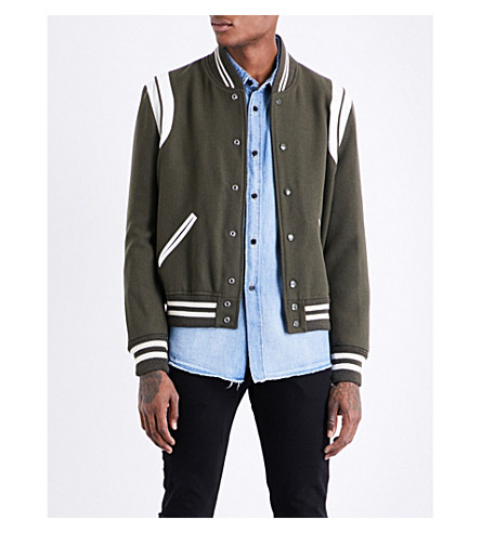 SAINT LAURENT Leather-trim wool bomber jacket (Khaki