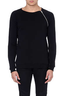 SAINT LAURENT Zip-detail raglan sweatshirt