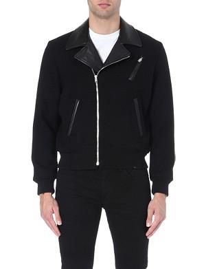 SAINT LAURENT Leather-collar biker jacket
