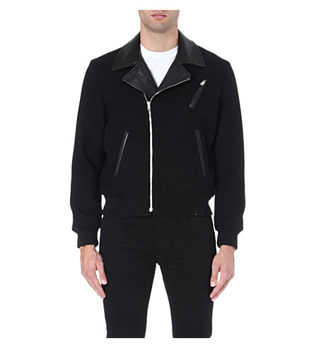SAINT LAURENT Leather-collar biker jacket (Black