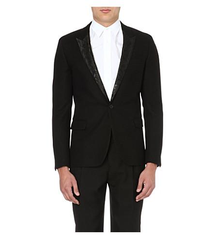 SAINT LAURENT Leopard-jacquard wool blazer (Black