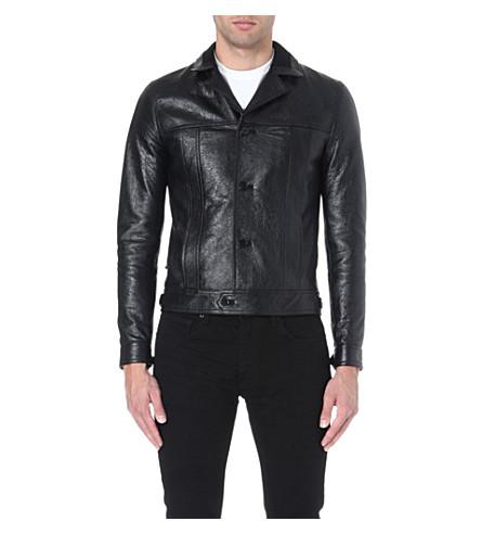 SAINT LAURENT Leather blouson jacket (Black