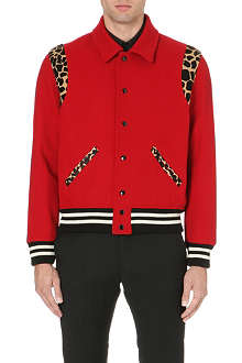 SAINT LAURENT Animal-detail varsity jacket