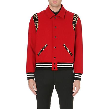 SAINT LAURENT Animal-detail varsity jacket (Red
