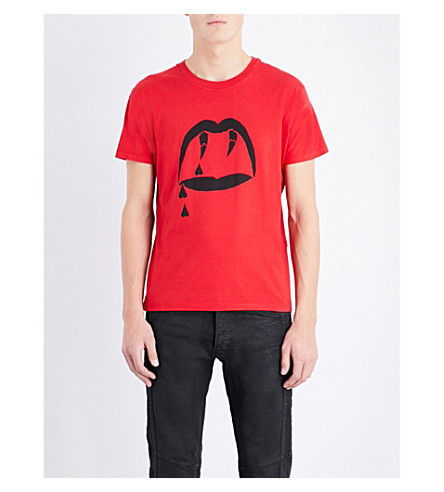 SAINT LAURENT Blood Luster cotton-jersey t-shirt (Red