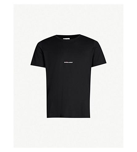 SAINT LAURENT Logo-print cotton-jersey T-shirt (Black