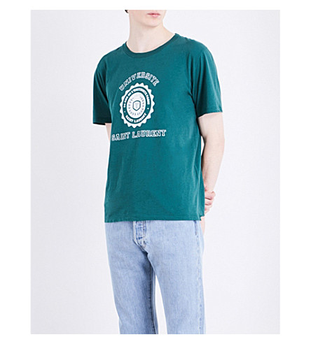 SAINT LAURENT University-print cotton-jersey T-shirt (Green