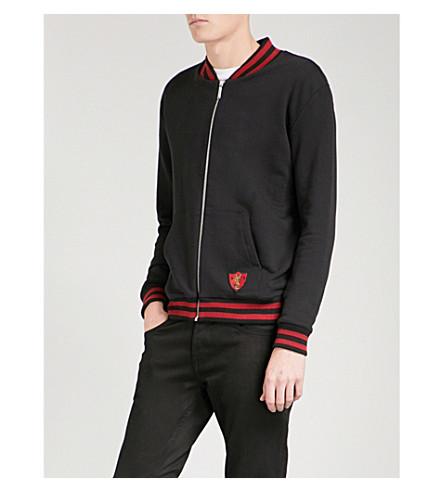 SAINT LAURENT Crest-detailed cotton bomber jacket (Black