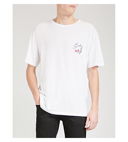 SAINT LAURENT No Smoking-print cotton-jersey T-shirt (White