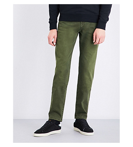 SAINT LAURENT Slim-fit tapered mid-rise jeans (Used+khaki