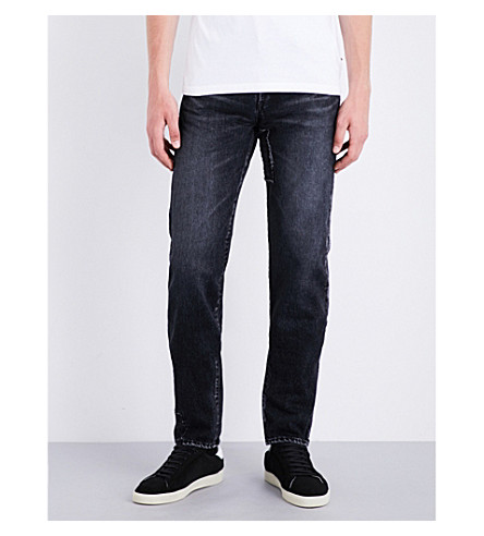 SAINT LAURENT Regular-fit repair-patch jeans (Deep+dark+black
