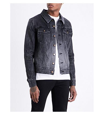 SAINT LAURENT Heart patch-embroidered denim jacket (Black+bleached
