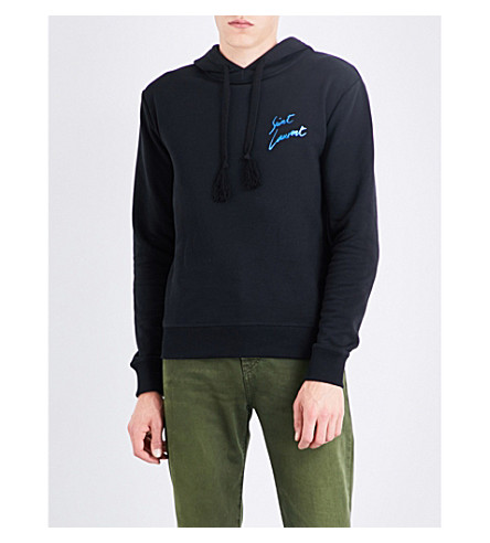 SAINT LAURENT Metallic logo-print cotton-jersey hoody (Black+metallic+blue