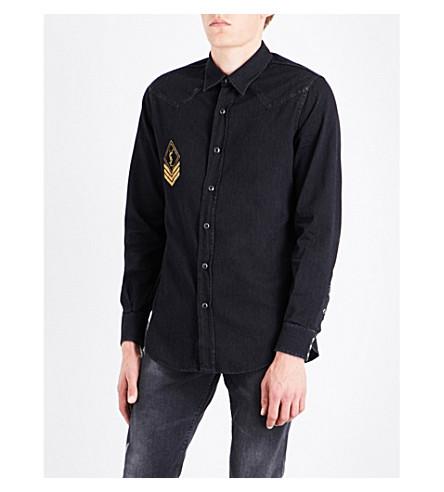 SAINT LAURENT Logo-print regular-fit denim shirt (Dark+black