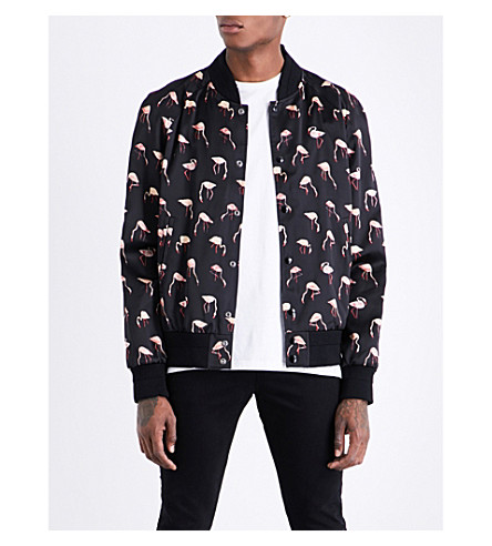 SAINT LAURENT Flamingo-print satin bomber jacket (Black+pink
