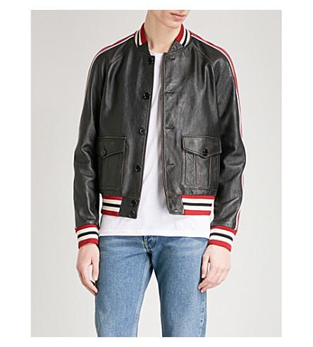 SAINT LAURENT Striped-trims leather varsity jacket (Black