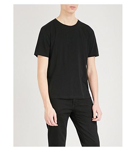 SAINT LAURENT Heart-print cotton-jersey T-shirt (Black