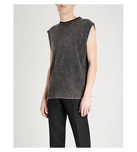 SAINT LAURENT Distressed sleeveless cotton-jersey T-shirt (Black