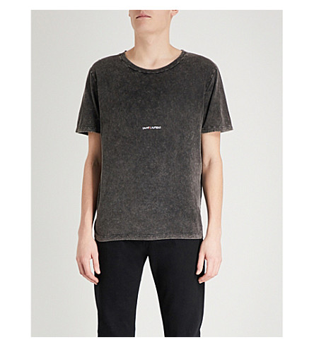 SAINT LAURENT Logo-print distressed cotton-jersey T-shirt (Black