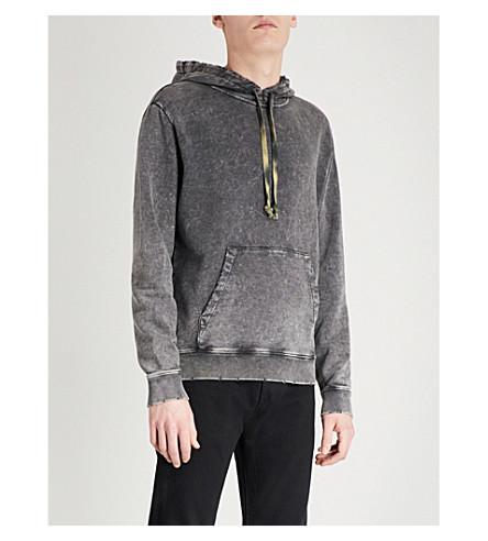 SAINT LAURENT Distressed cotton-jersey hoody (Black