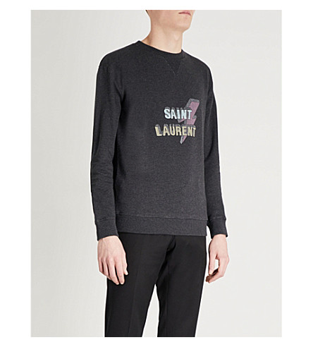 SAINT LAURENT Lightning logo-print cotton-jersey sweatshirt (Grey