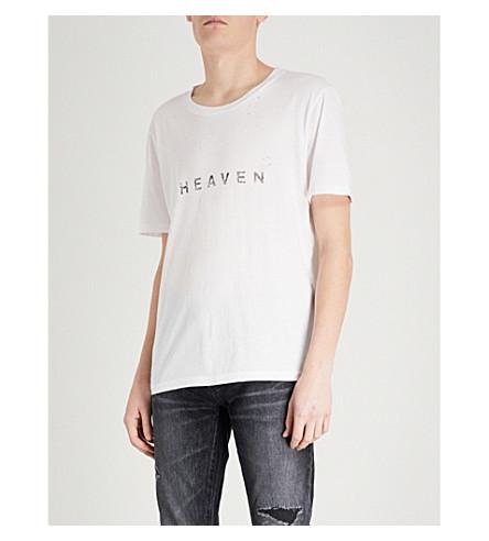 SAINT LAURENT Heaven distressed cotton-jersey T-shirt (Natural