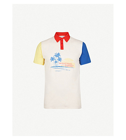 SAINT LAURENT Colour-block cotton-jersey polo shirt (Natural