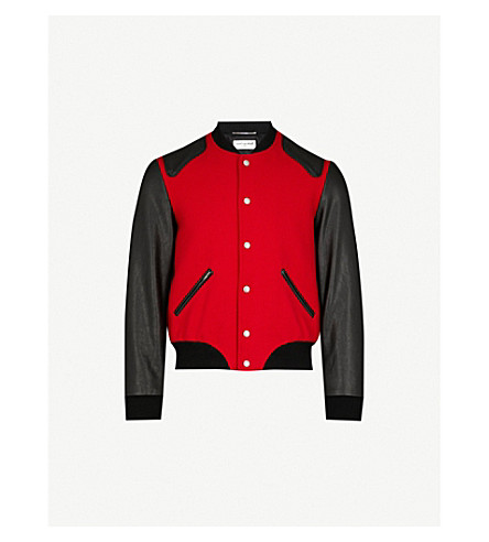 SAINT LAURENT Contrasting wool-blend and leather varsity jacket (Red