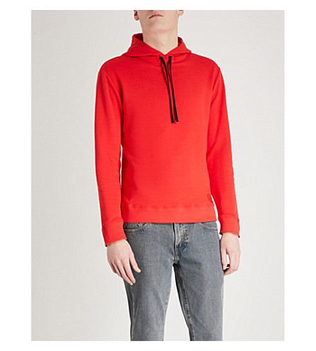 SAINT LAURENT Logo appliqué cotton-jersey hoody (Red
