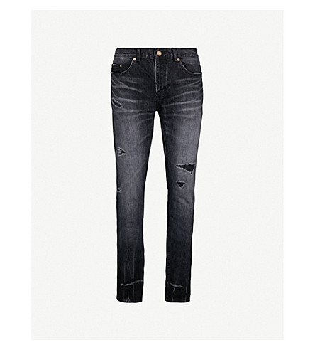 SAINT LAURENT Distressed slim-fit skinny jeans (Black