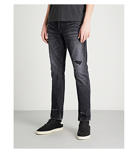SAINT LAURENT Distressed slim-fit skinny jeans (Black