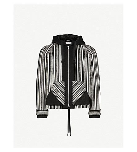 SAINT LAURENT Striped wool and cotton-blend jacket (Black