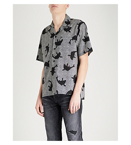 SAINT LAURENT Shark-print cotton-poplin shirt (Black