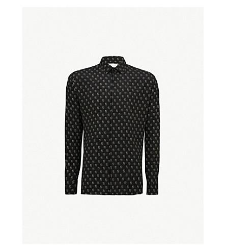 SAINT LAURENT Playing card-print regular-fit silk-crepe shirt (Black