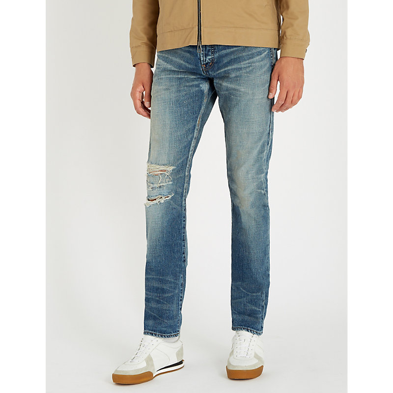 SAINT LAURENT DISTRESSED REGULAR-FIT TAPERED JEANS