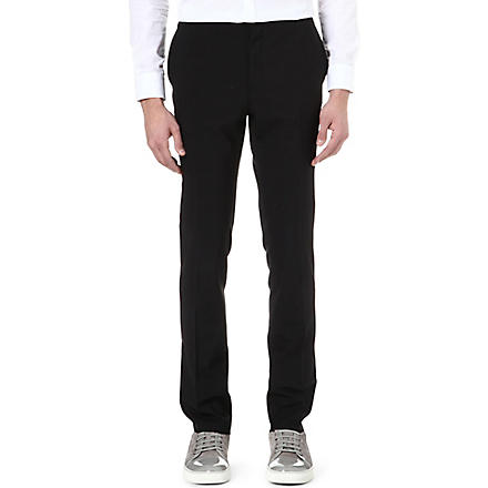 LANVIN Silk-waistband slim-fit trousers (Black