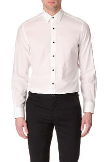 LANVIN Textured glass-button single-cuff shirt