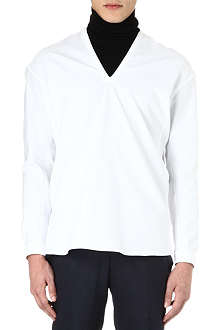 LANVIN V-neck cotton-piqué top